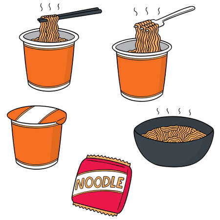 Vector set of noodle.
