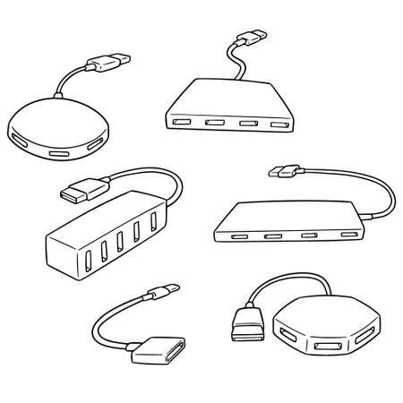 Vector set of usb hub on white background illustration.