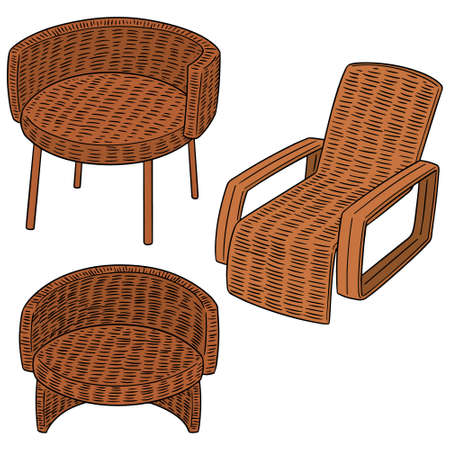 Vector set of wicker chair on white background illustration.