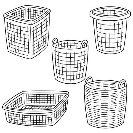 vector set of basket.