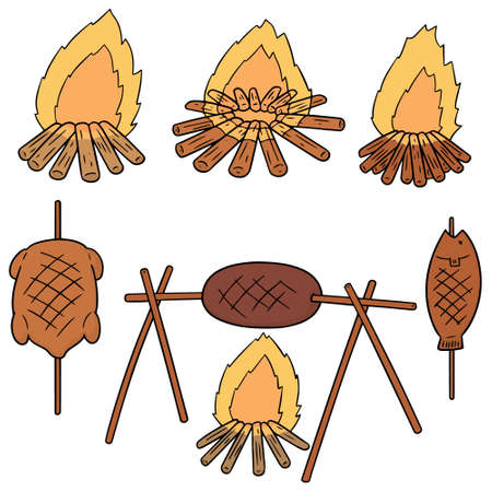 vector set of bonfire and grilled food