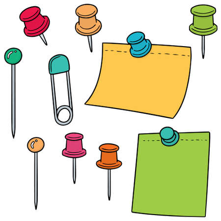 vector set of pin and memo note Illustration