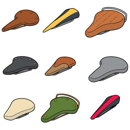 vector set of bicycle saddle in color