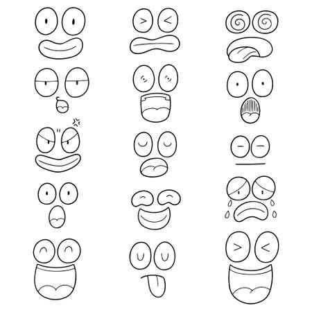 vector set of cartoon face Illusztráció
