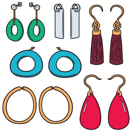 vector set of earrings Illustration