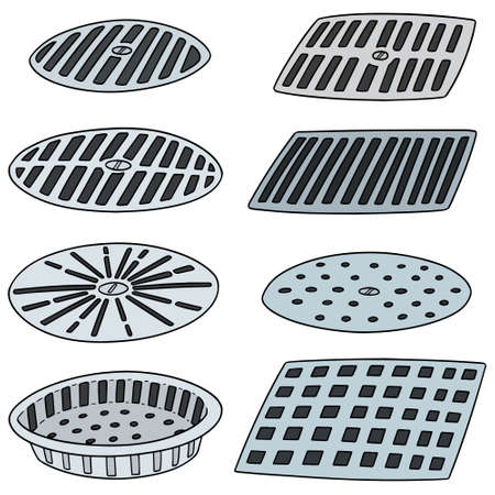 vector set of cover the drain.