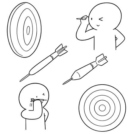 Set of dart with a human line illustration. vector
