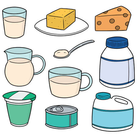 vector set of milk product Illustration