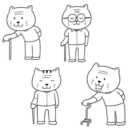 vector set of elder cat with cane Ilustração