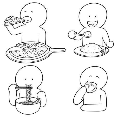 vector set of man eating Illustration