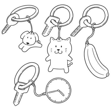 Vector set of key chain on white background illustration.