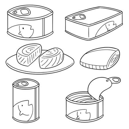 Vector set of canned fish on white background illustration.