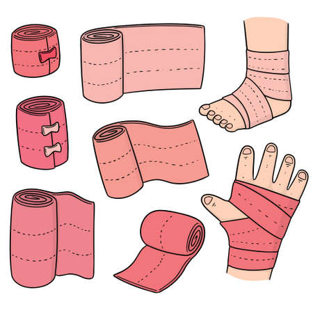 Vector set of medical bandage on white background illustration.