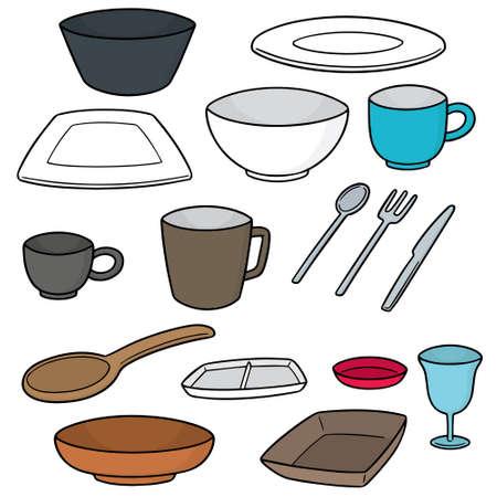 Vector set of tableware on white background illustration.