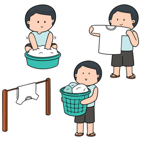 Vector set of people washing clothes on white background illustration. Çizim