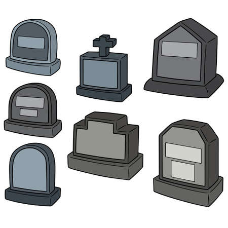 Vector set of tombstone on white background illustration.