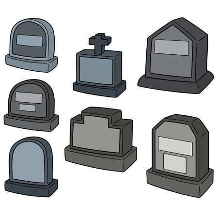 Vectorreeks van grafsteen op witte illustratie als achtergrond. Stock Illustratie