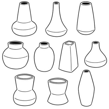 Vector set of vase on white background illustration.