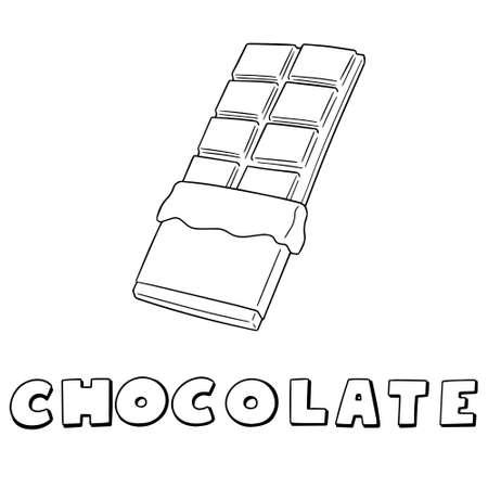 Conjunto del vector de chocolate en la ilustración blanca del fondo.