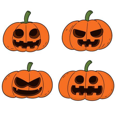 Vector set of pumpkins on white background illustration.