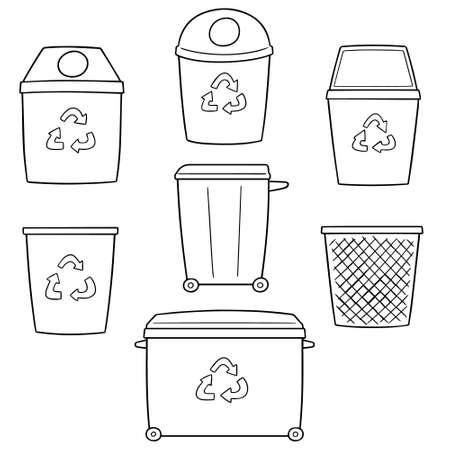Vector set of recycle garbage on white background illustration.