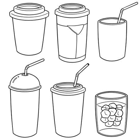 Set of beverage cup in outlined  cartoon illustration. Çizim