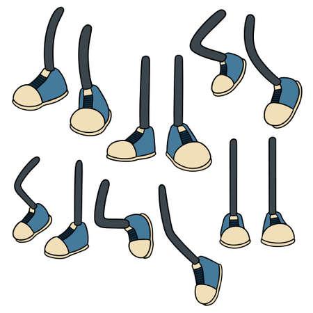 Set of cartoon leg in colored illustration.
