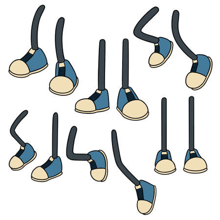 Set of cartoon leg in colored illustration.