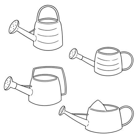 Vector set of watering can. Vettoriali