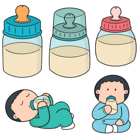 Vector set of baby bottle.