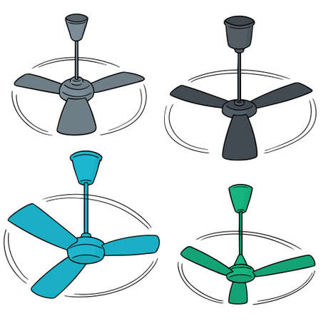 vector set of ceiling fan Çizim