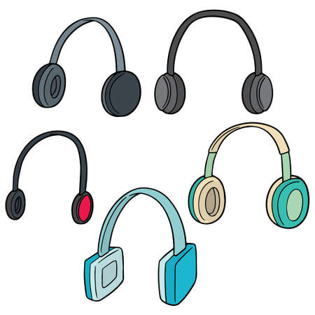 vector set of headphone 일러스트