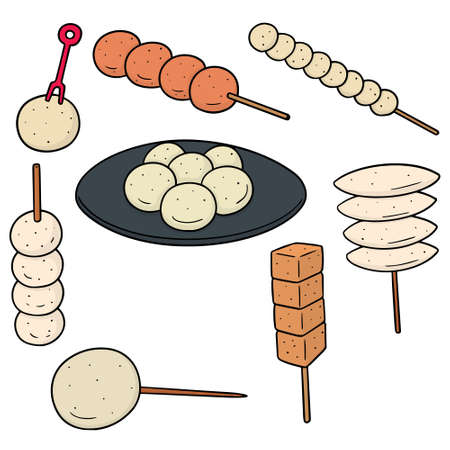 vector set of meatball, fish ball, pork ball and shrimp ball 版權商用圖片 - 93380863