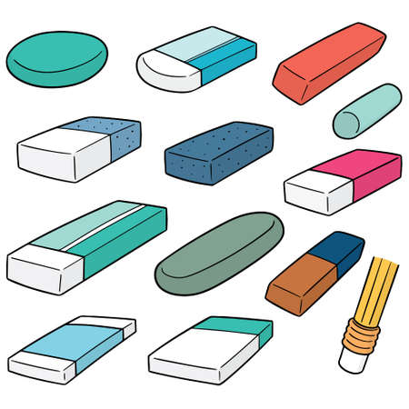 Vector set of eraser in different sizes illustration.