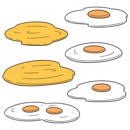 Vector set of fried egg. Sunny side up and scramble egg illustration. Illustration