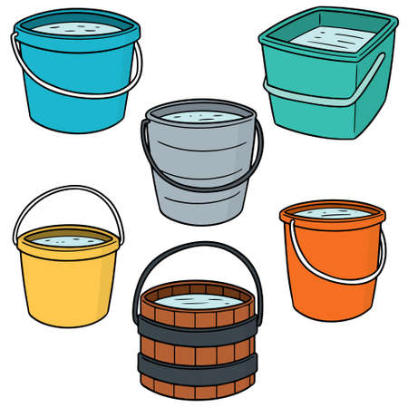 vector set of buckets Ilustração
