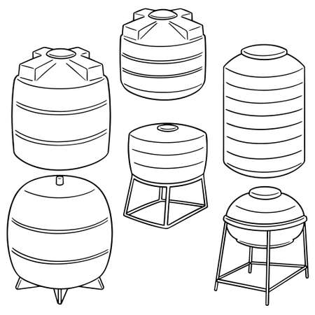 vector set of water storage tanks