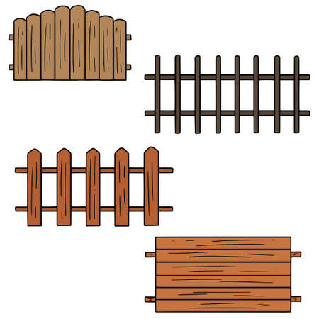 Vector set of fence isolated illustration on white
