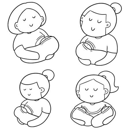 vector set of breast feeding mother and baby  イラスト・ベクター素材