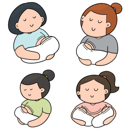 vector set of breast feeding mother and baby 일러스트