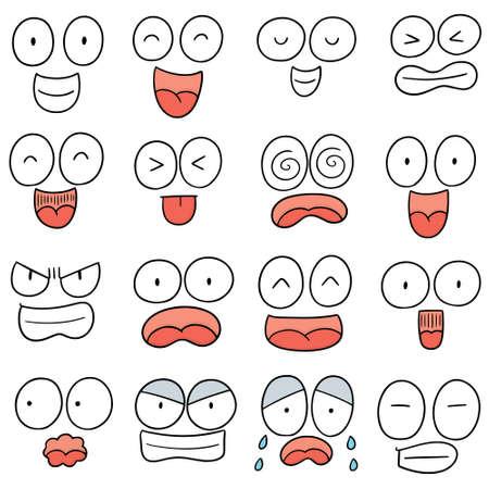 Vector set of cartoon face illustration. Vettoriali