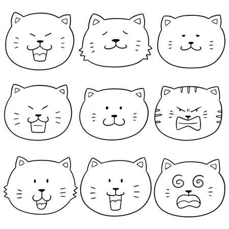 Vector set of cat face illustration.