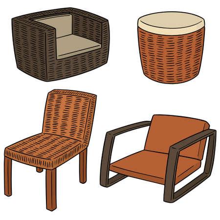 Vector set of wicker chair illustration.