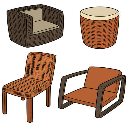 Vector set of wicker chair illustration.