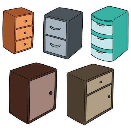 Vector set of drawer illustration. 向量圖像