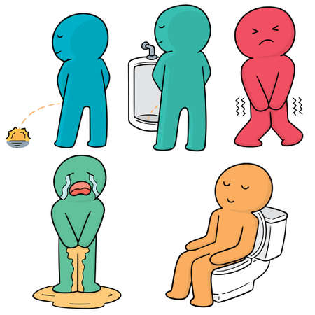 vector set of man peeing Illustration