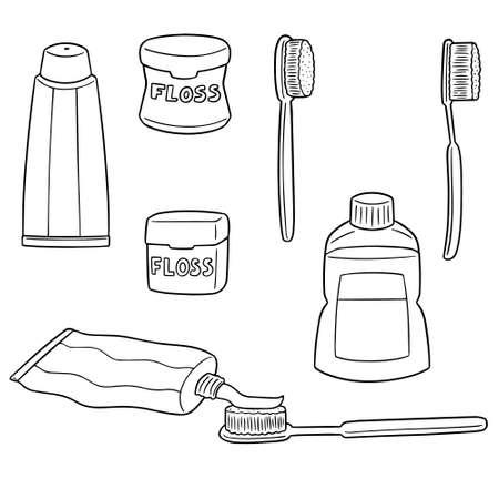 Vector set of tooth care set illustration. Stock Illustratie