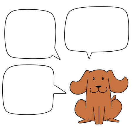 Vector set of dog with speech bubble Ilustração