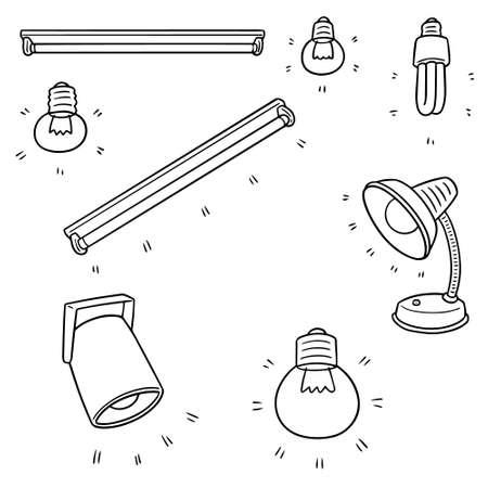 Vector set of light bulb, lamp and spotlight illustration.
