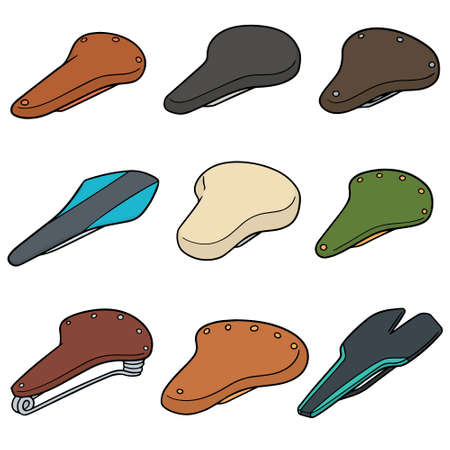 Vector set of bicycle saddles.